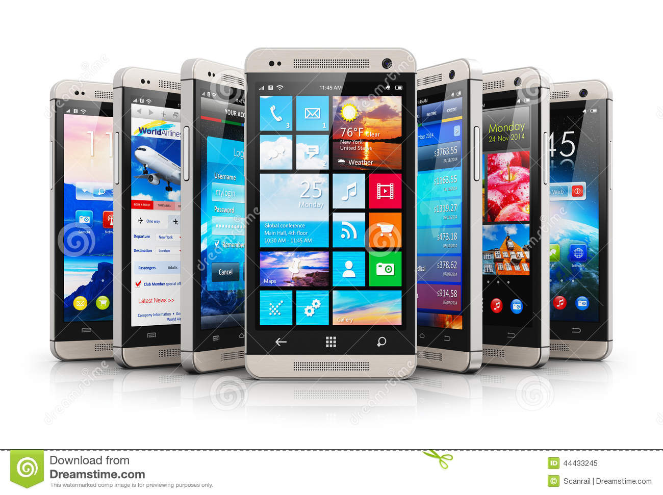 Collection Of Modern Touchscreen Smartphones Stock Illustration ...