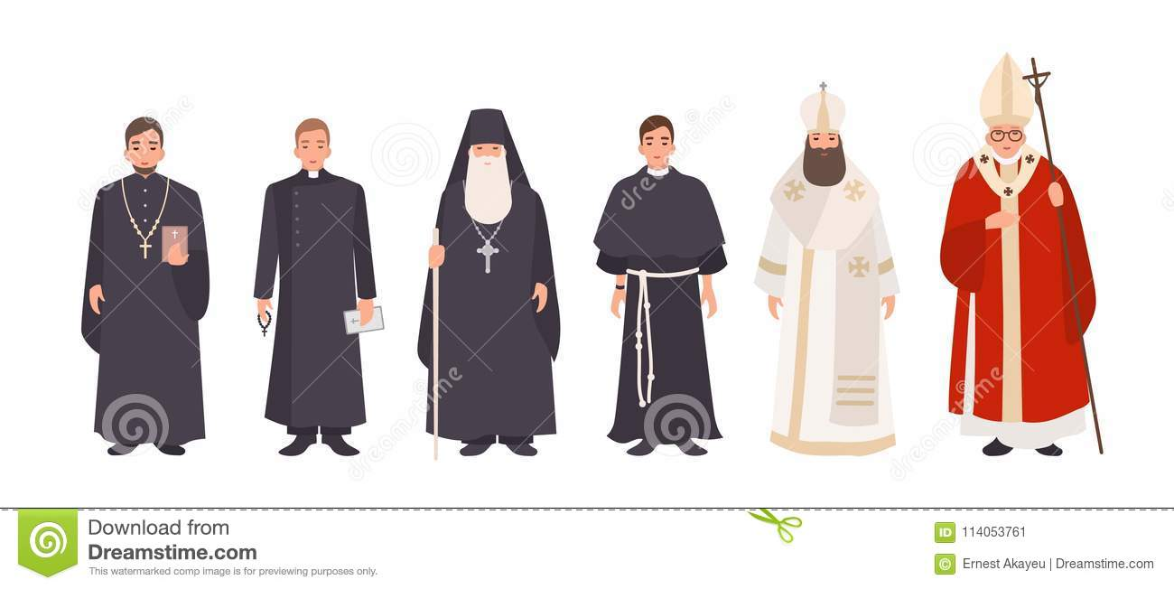 Collection Of Monks Priests And Religious Leaders Of Catholic And
