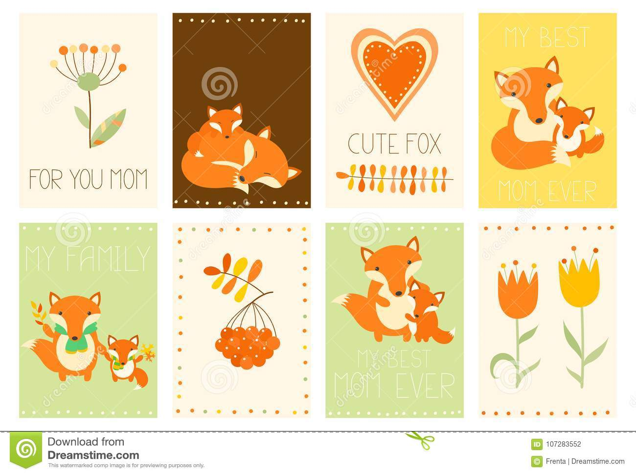 collection of mother s day banners with cute fox stock vector