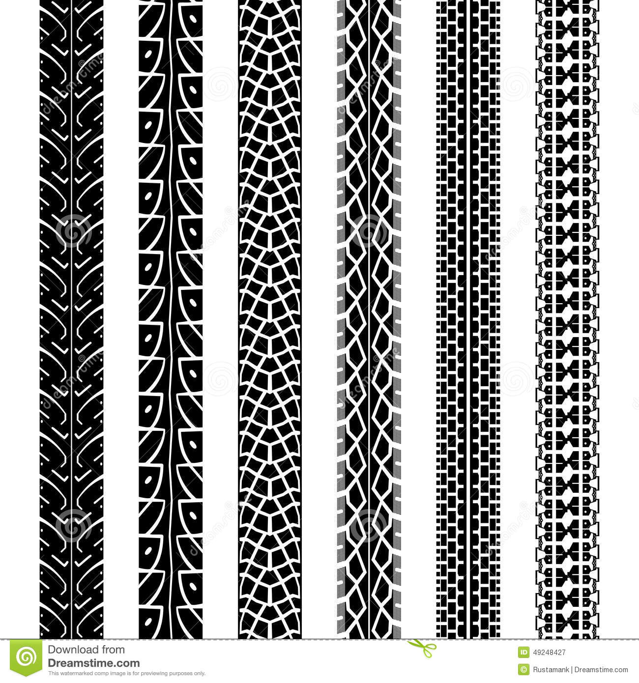 Collection Motorcycle Tire Tracks, Seamless Texture Stock ...