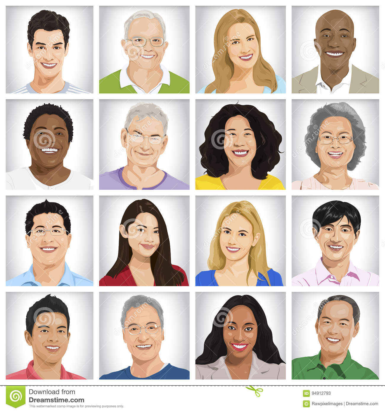 Collection of Multi-ethnic people Concept