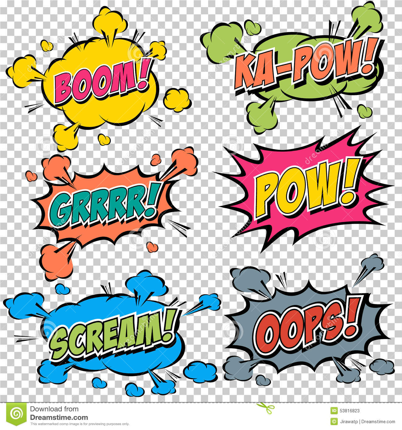 Collection Multicolored Comic Sound Effects Stock Vector
