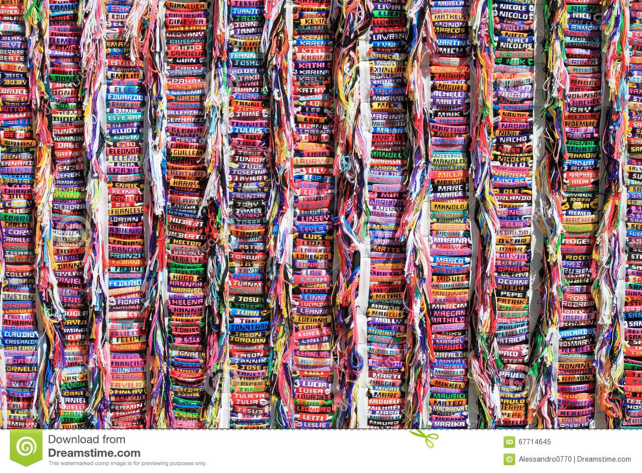 Collection Of Name Bracelets Stock Image - Image of colour
