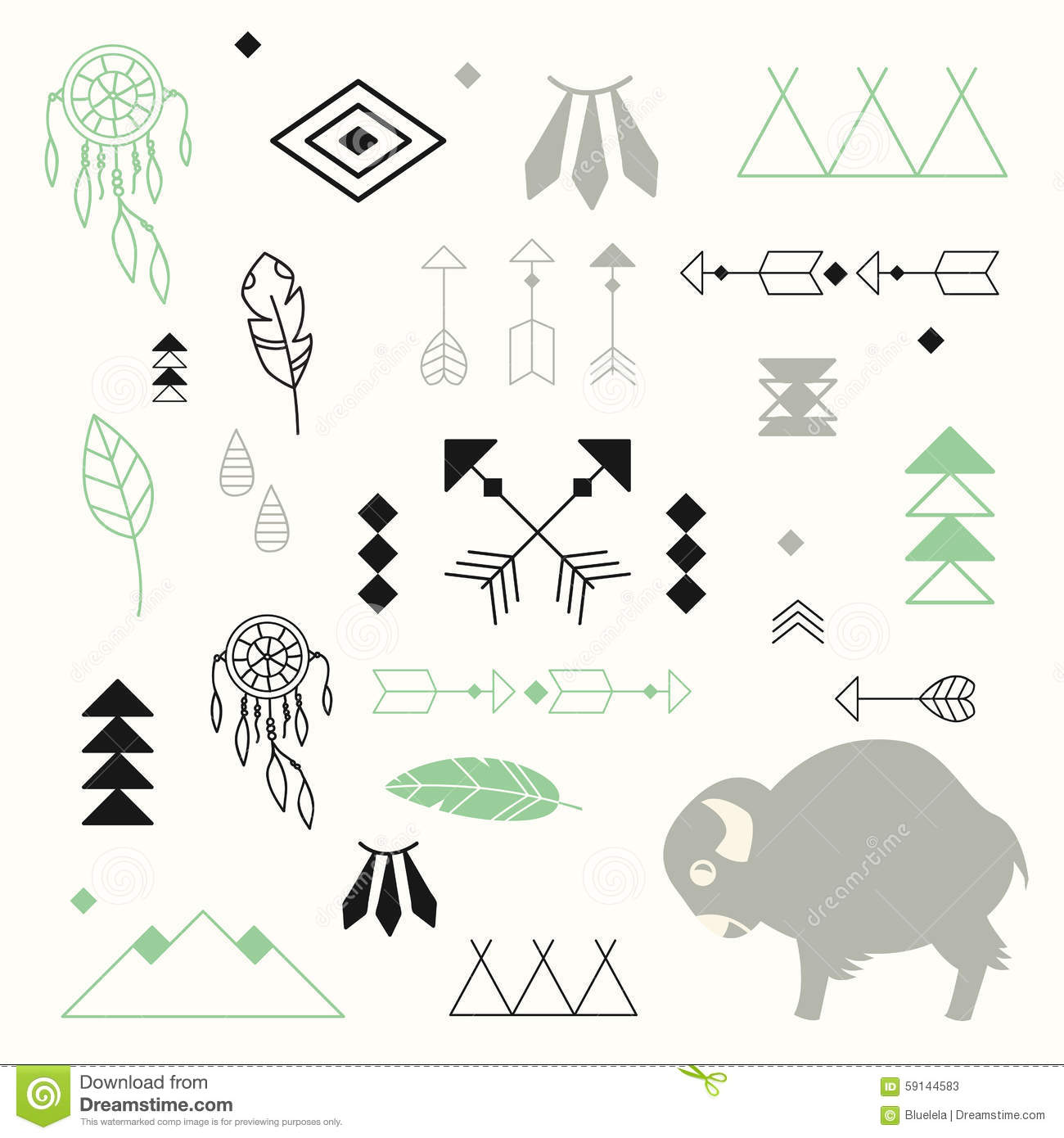 Collection of native american symbols with cute baby buffalo stock collection of native american symbols with cute baby buffalo buycottarizona