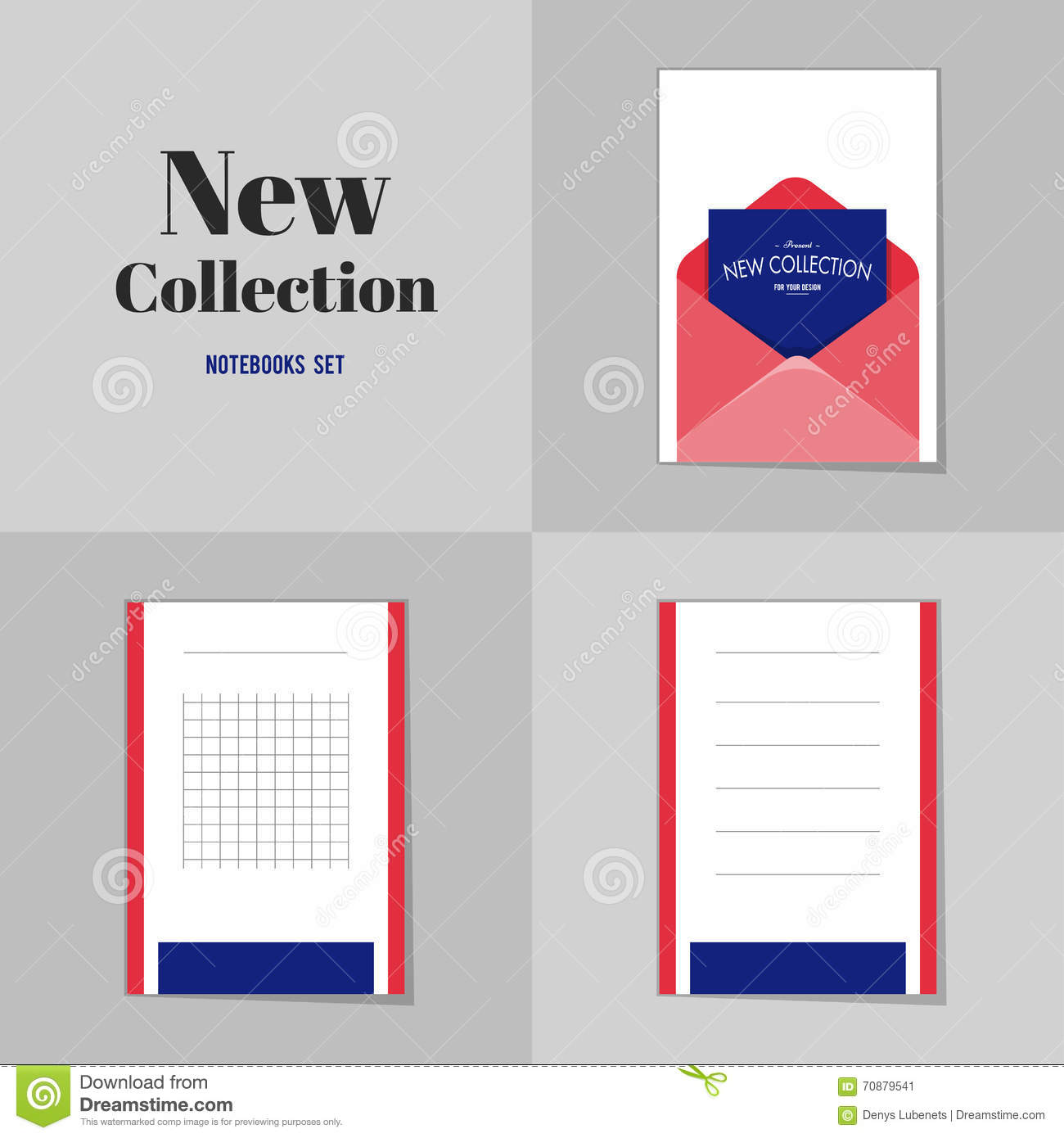 Collection New Collection Blank Envelope Notebooks Stock Vector ...