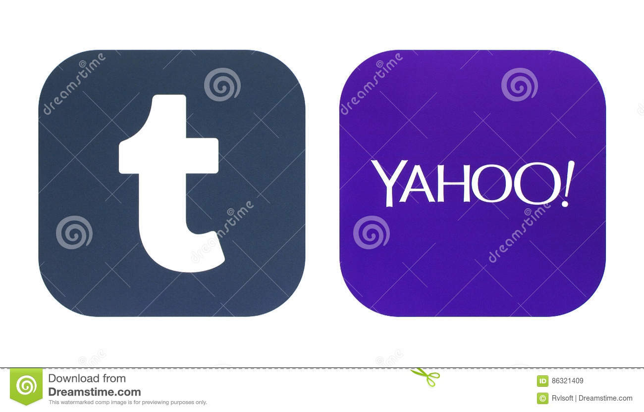 Collection Of A New Tumblr And Yahoo Logos Editorial Stock Image
