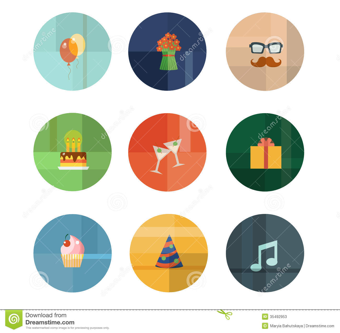 Collection Of Nine Vector Birthday Party Icons Stock Photos - Image ...