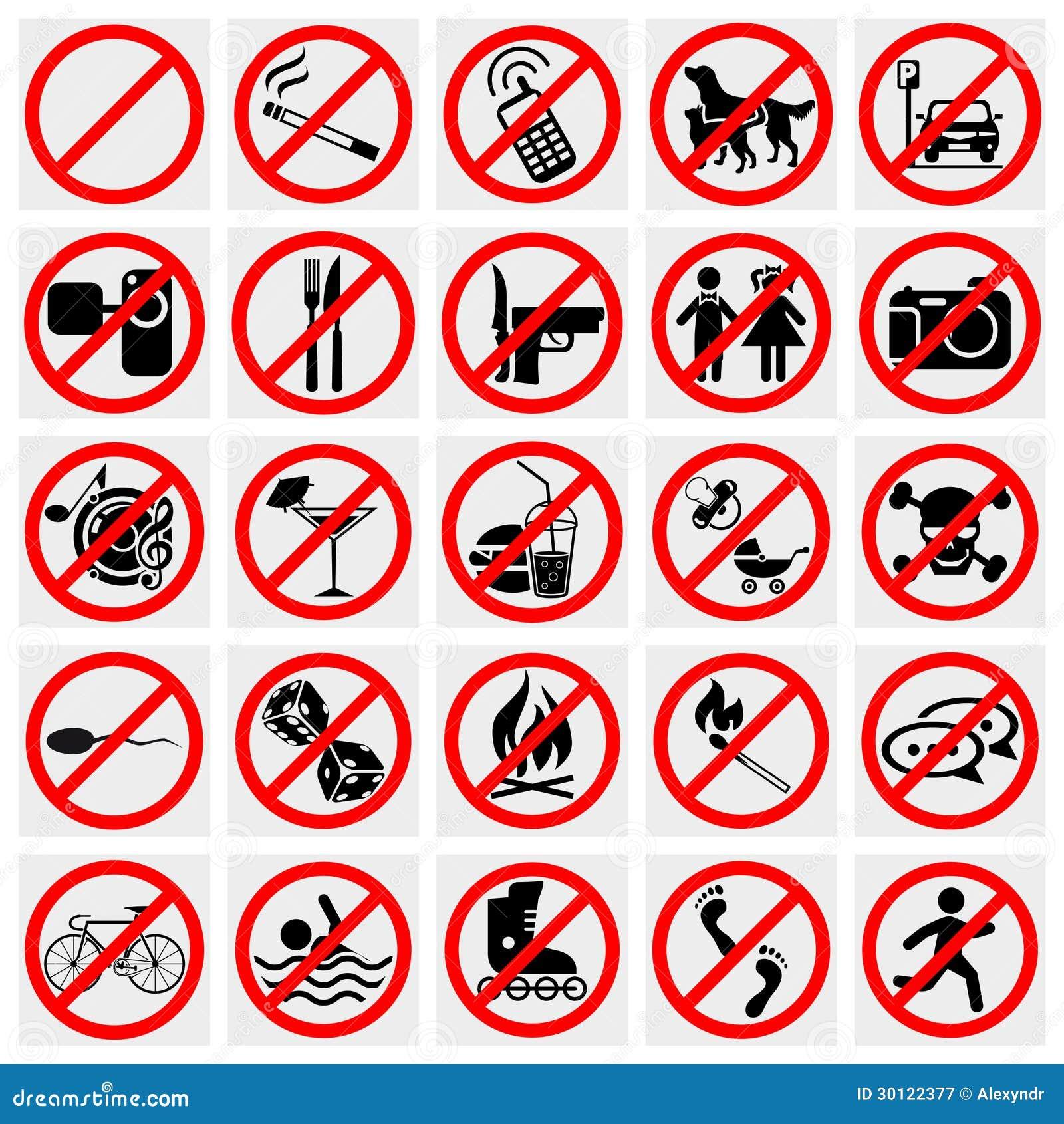 No Stop Sign No Smoking No Dog Or Pets Set Prohi Royalty