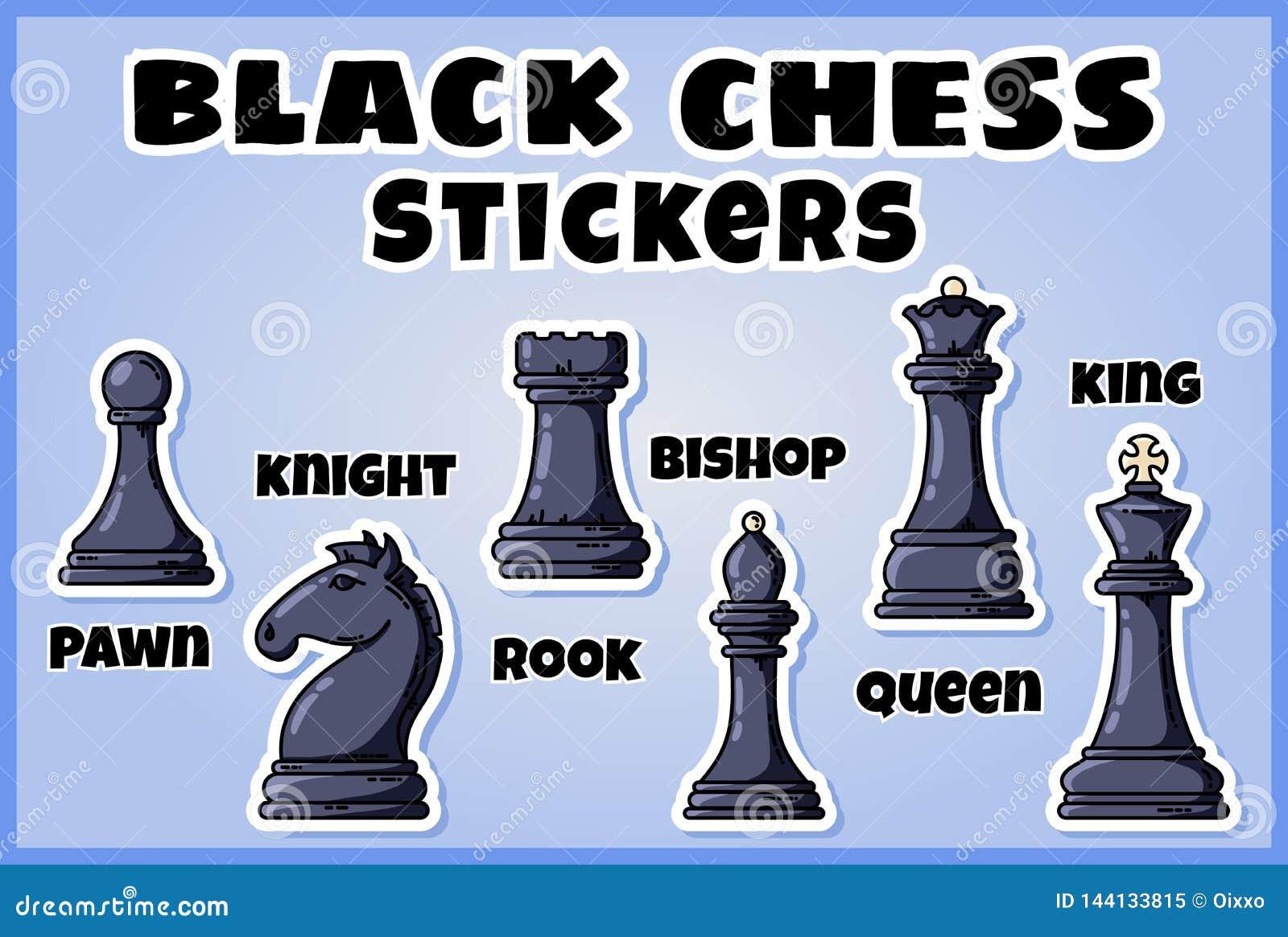 Collection noire d autocollants de pièces d échecs Placez des labels d échecs