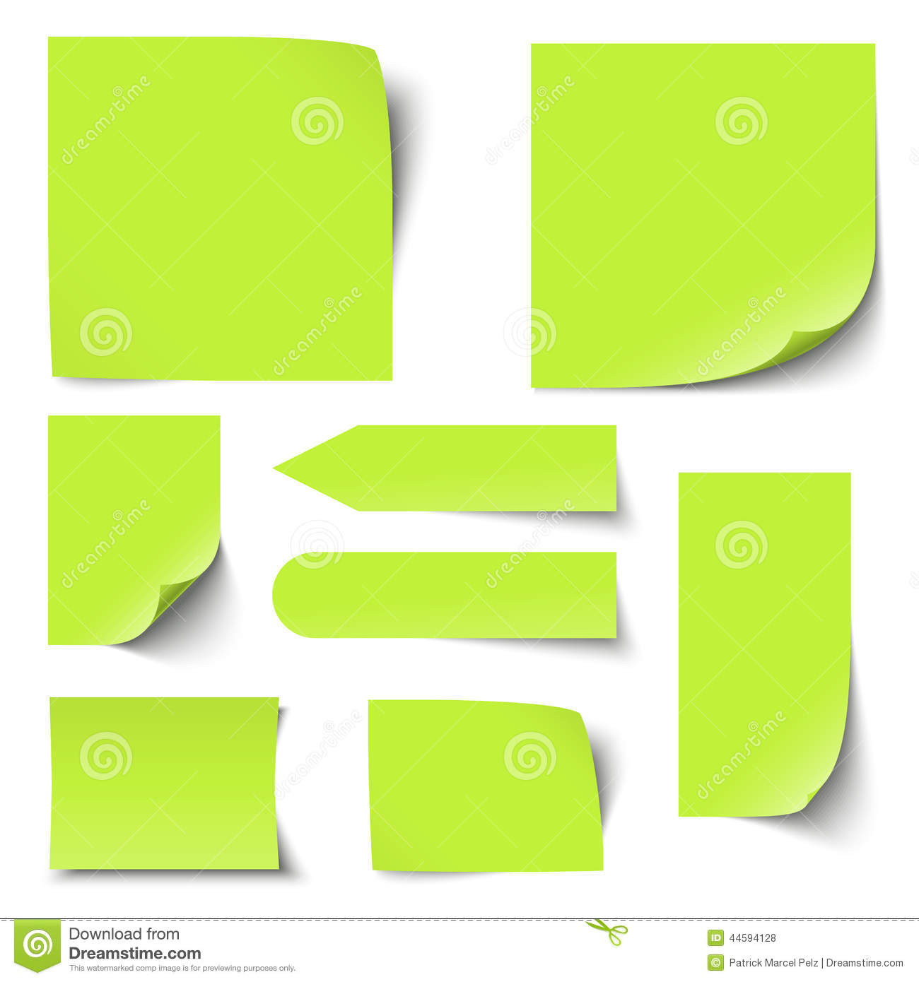 Blank Memos   Collection Of Notes Memos Blank Stock Vector Illustration Of