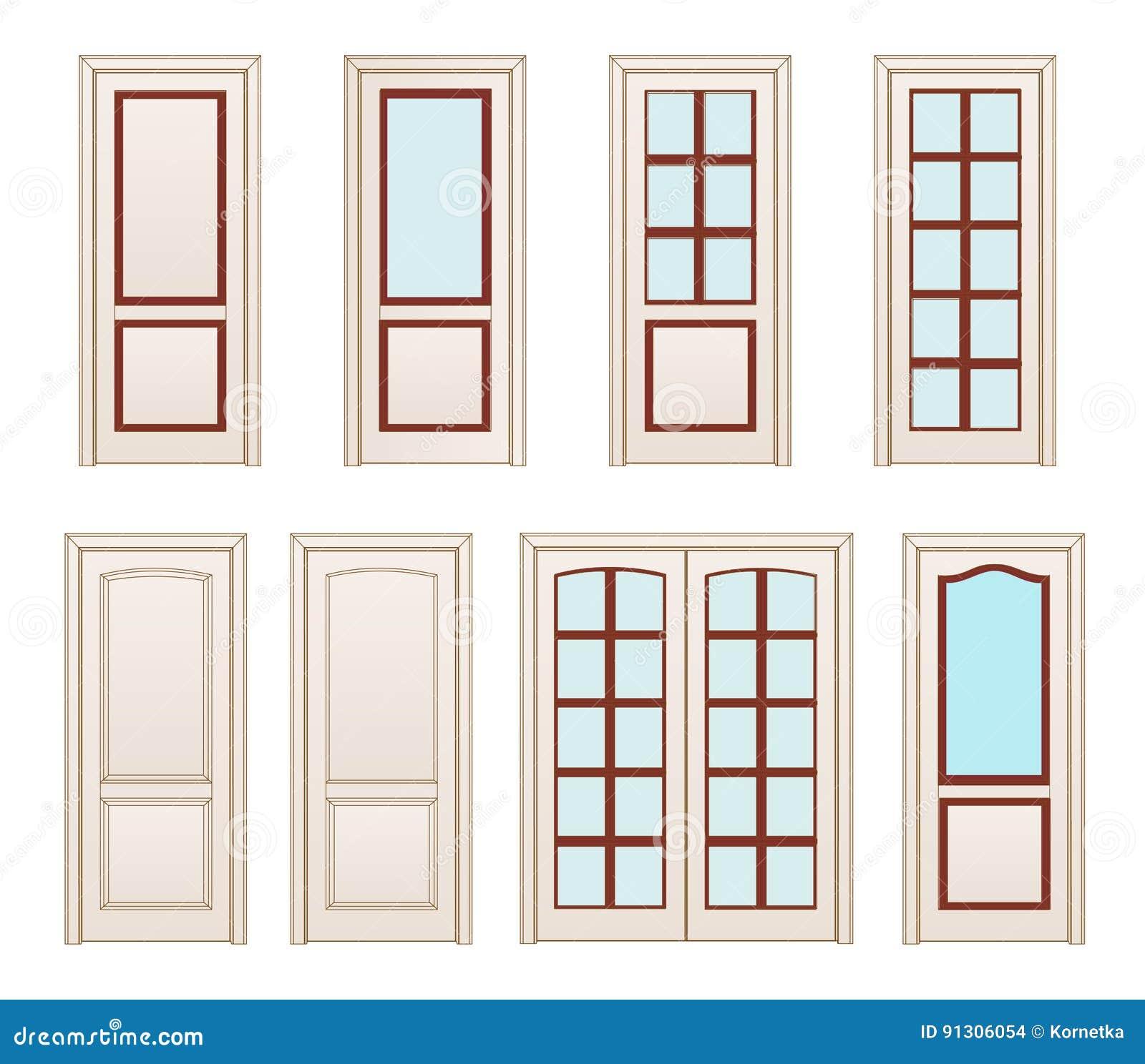 Collection office white doors set technical drawing - Puertas blancas de interior ...