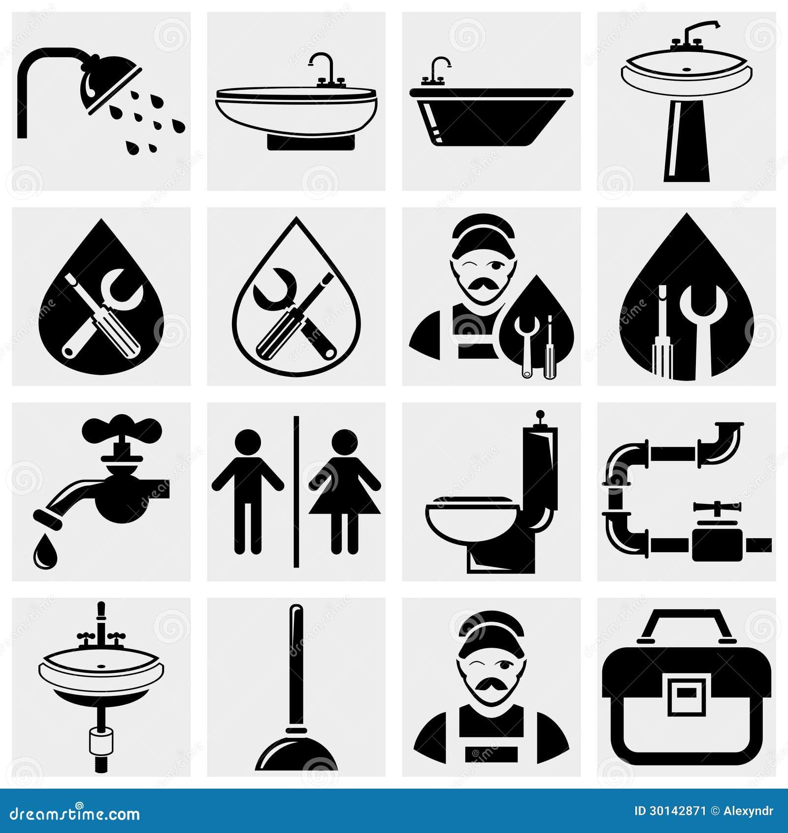 Plumbing And Bathroom Vector Icons Set Stock Image Image