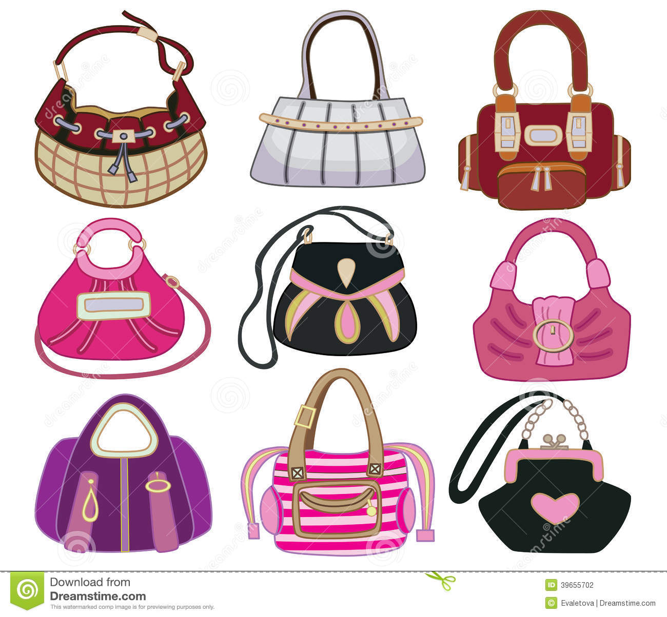 Collection Og Fashion Handbag Stock Vector Illustration