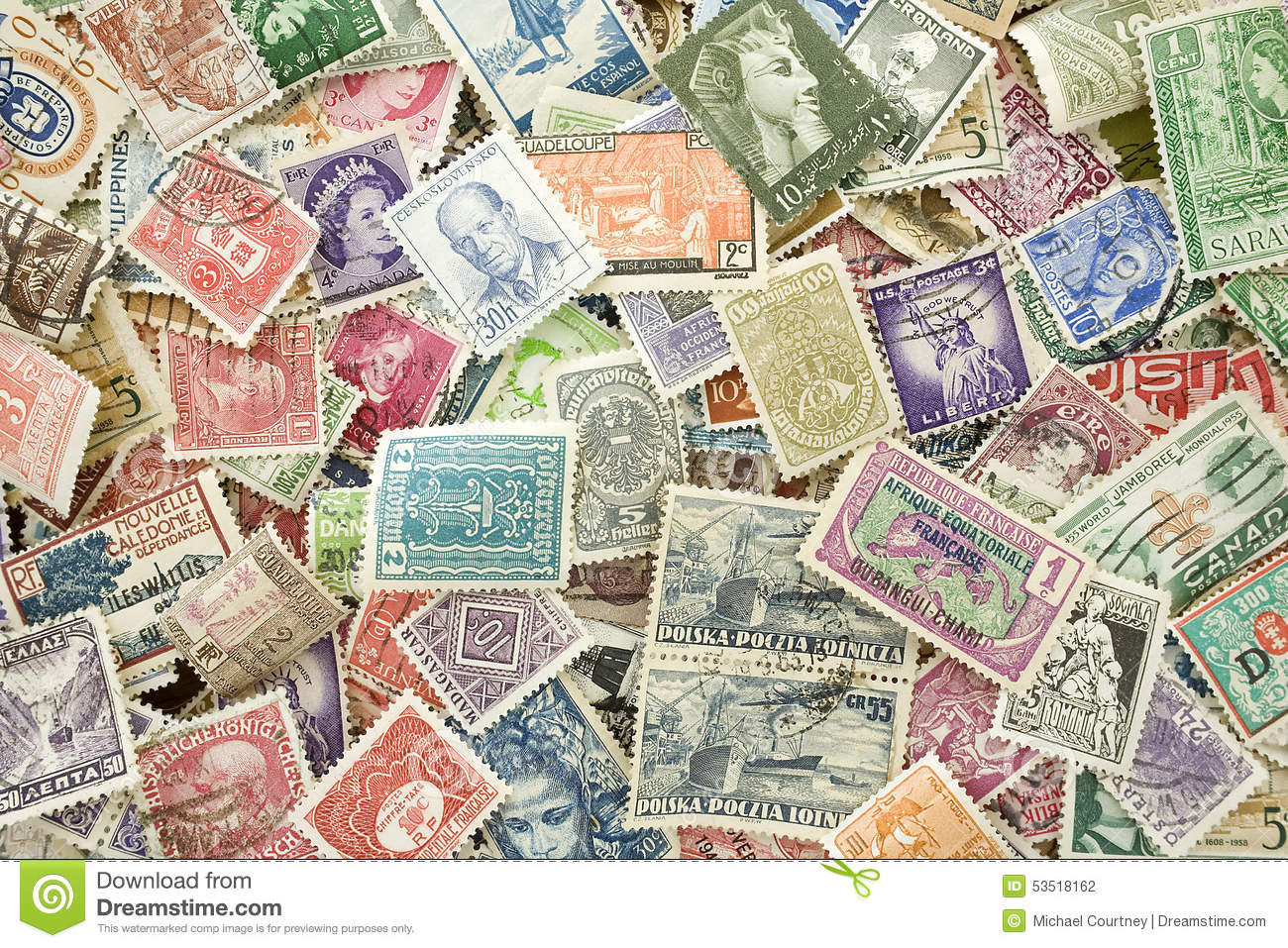 Collection of old expired international stamps.