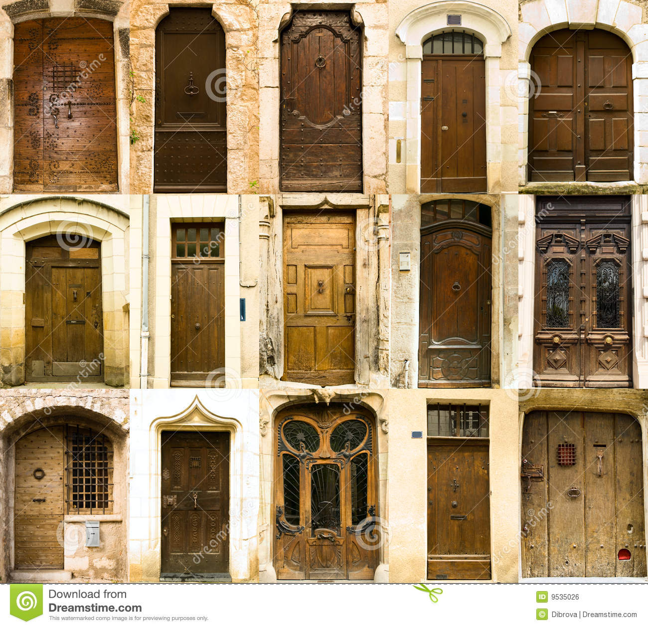 Collection Of Old French Entrance Doors Stock Photo Image Of