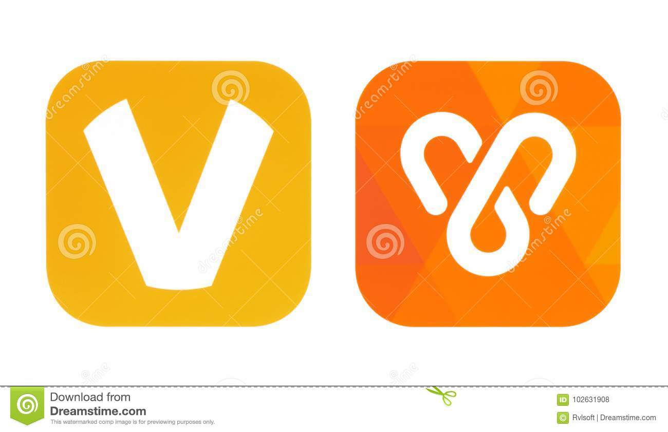 Collection Of Old And New OoVoo Icons Editorial Stock Photo