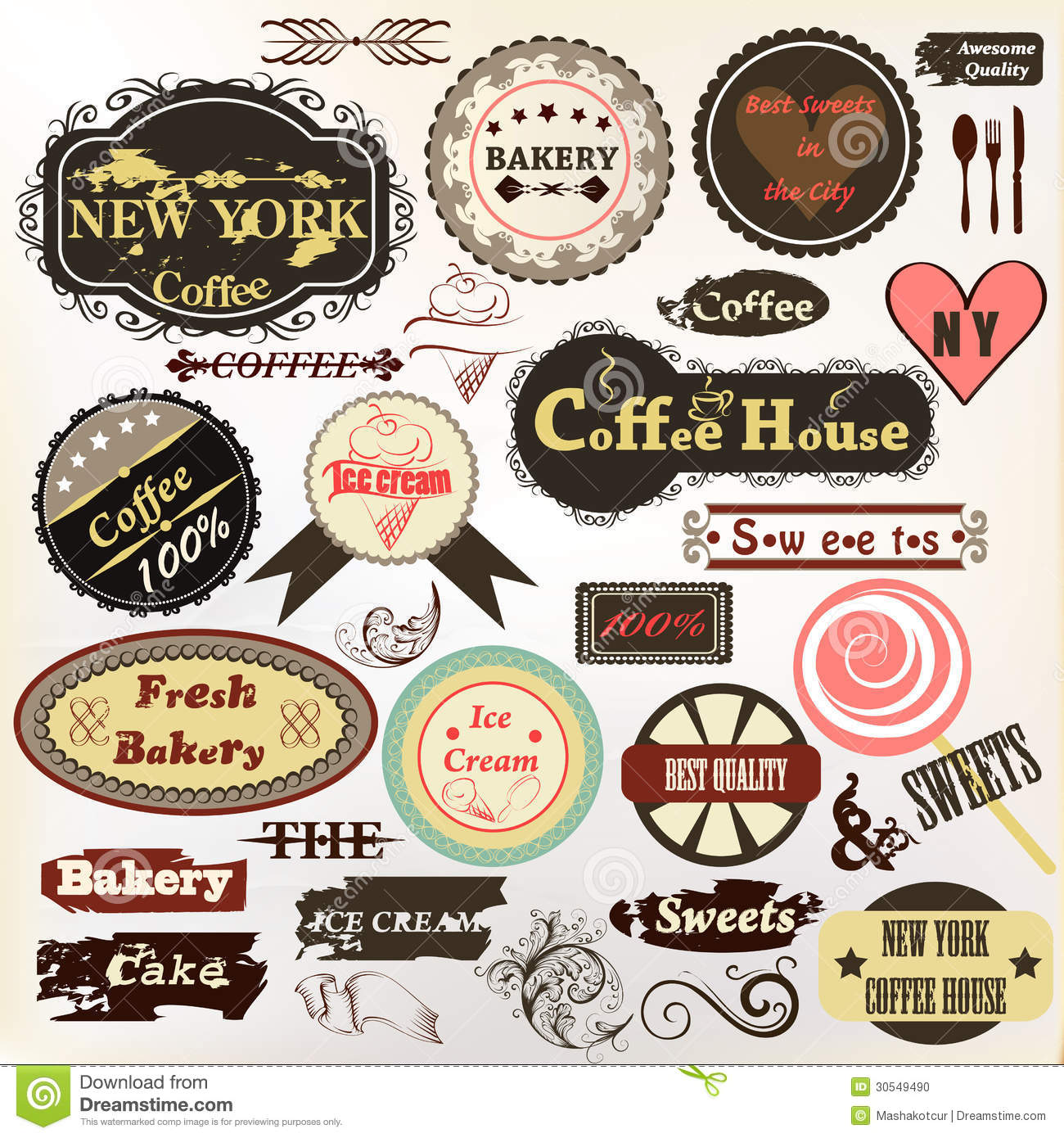 Collection of old styled badges or labels coffee house for Classic house labels