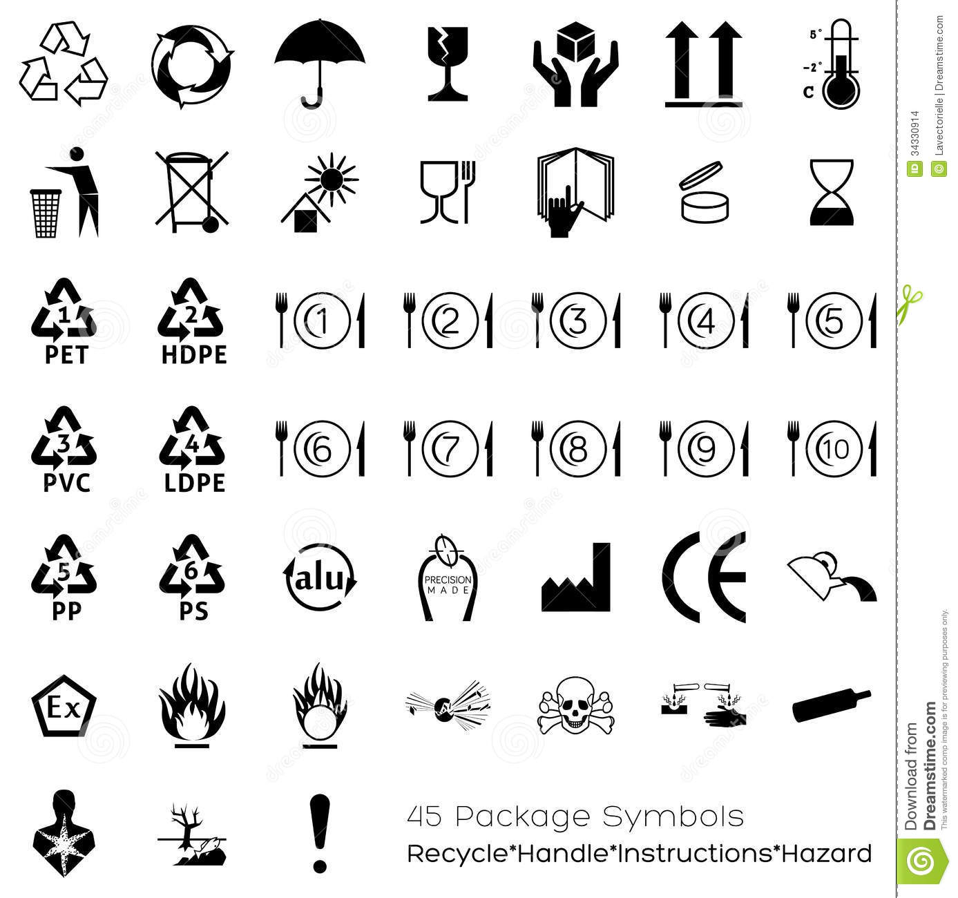 Food packaging symbols gallery symbol and sign ideas collection of 45 packaging symbols stock vector illustration of collection of 45 packaging symbols buycottarizona gallery buycottarizona Choice Image