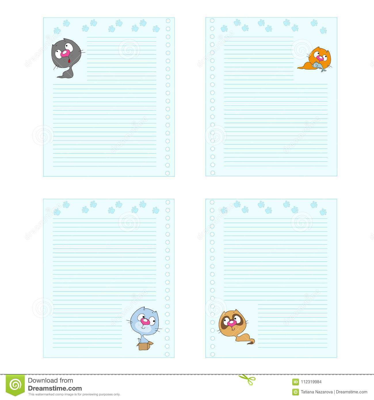 collection pages cute cartoon cats template notebook cheerful note pad space for