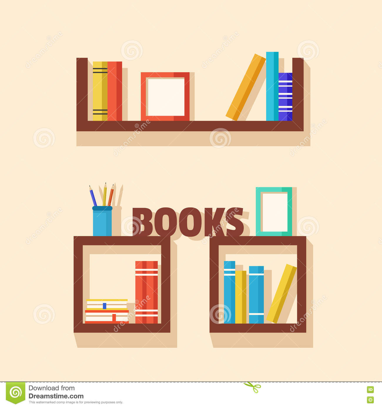 Collection Of Paper Books Wooden Bookshelf Vector Flat Illustration