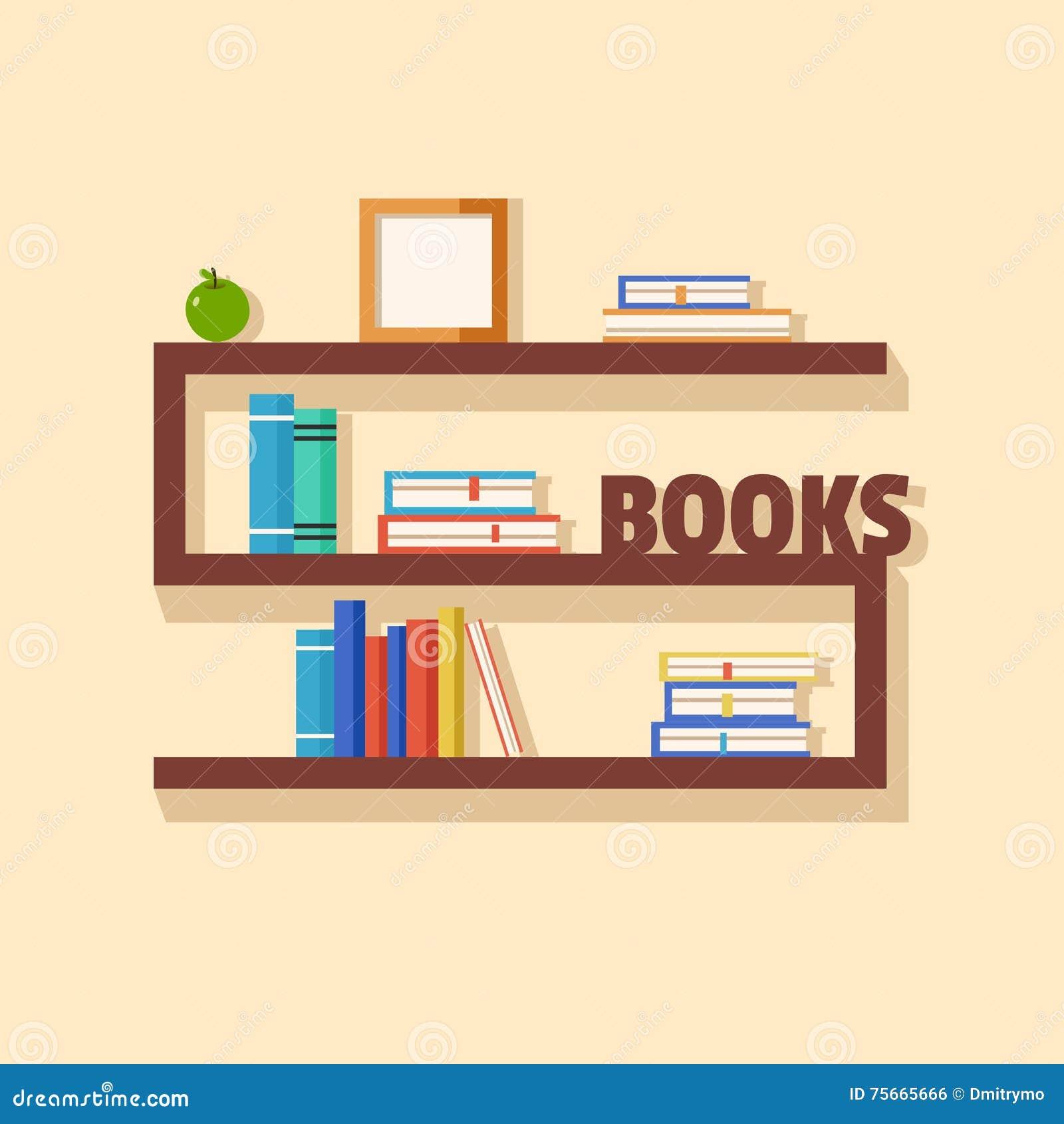 Interior wooden shelves free vector - Books Bookshelf Bookshelves Collection Flat Illustration Interior Paper Vector Wooden Book Stack Element Bookcase