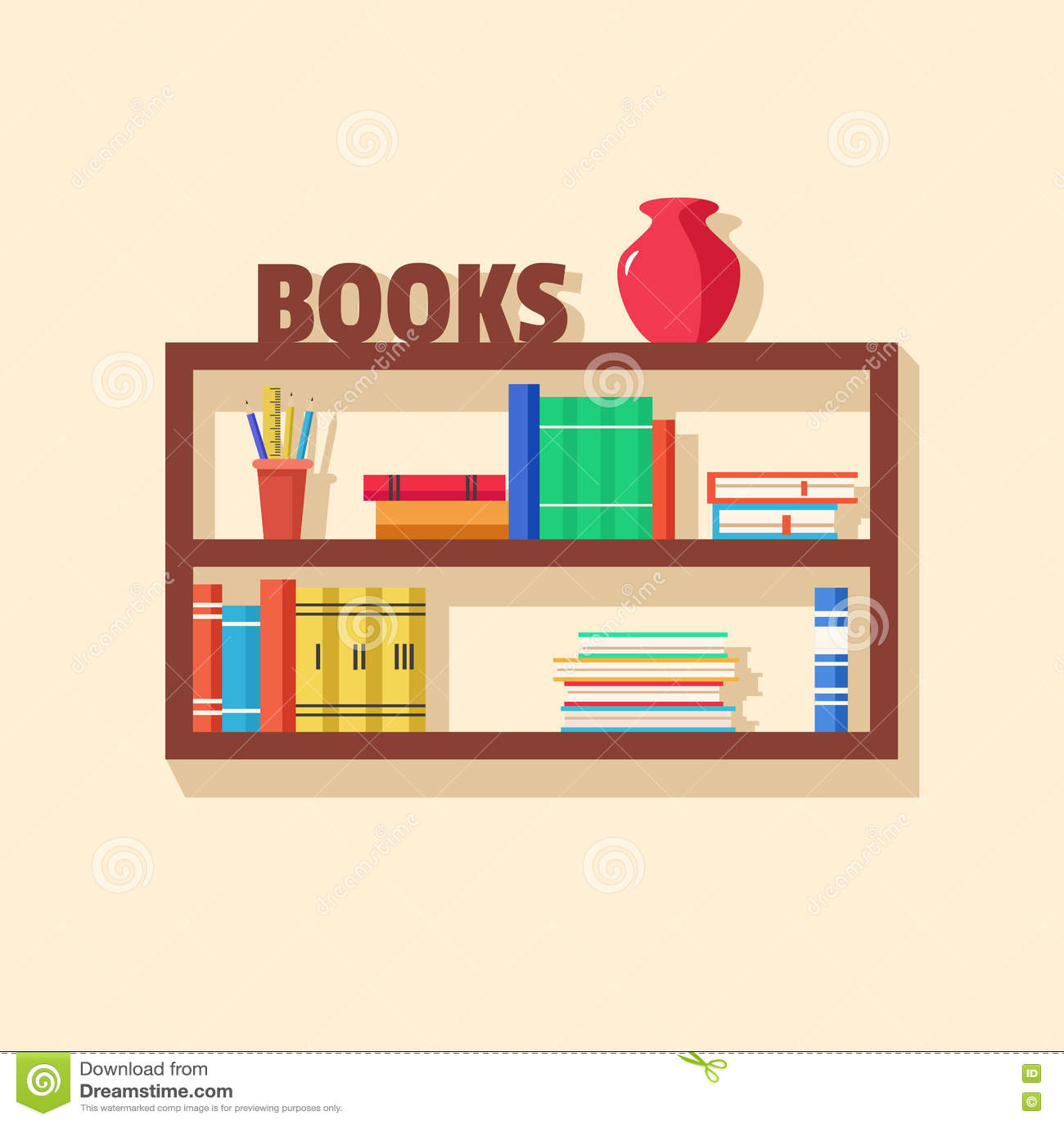 Interior wooden shelves free vector - Books Bookshelf Bookshelves Collection Flat Illustration Interior Vector Wooden