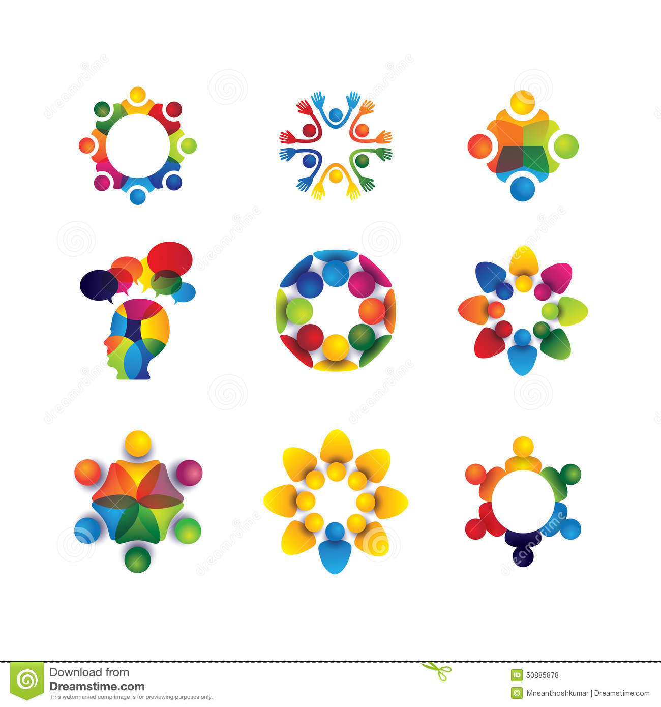 Collection Of People Icons In Circle - Vector Concept Unity, Sol Stock ...