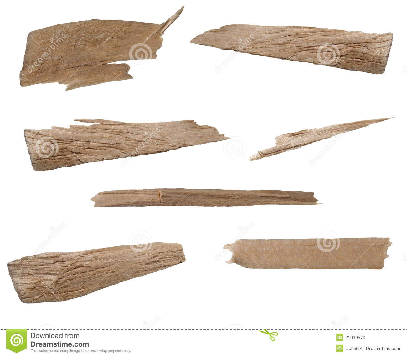Collection pieces of broken planks beech isolat stock