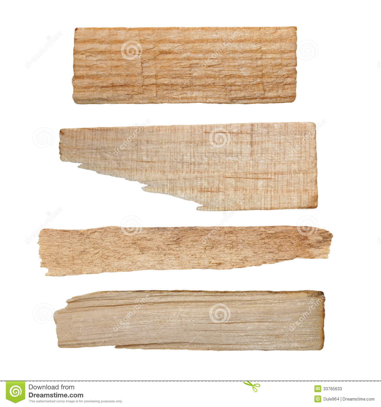 Collection pieces of broken planks isolated stock image