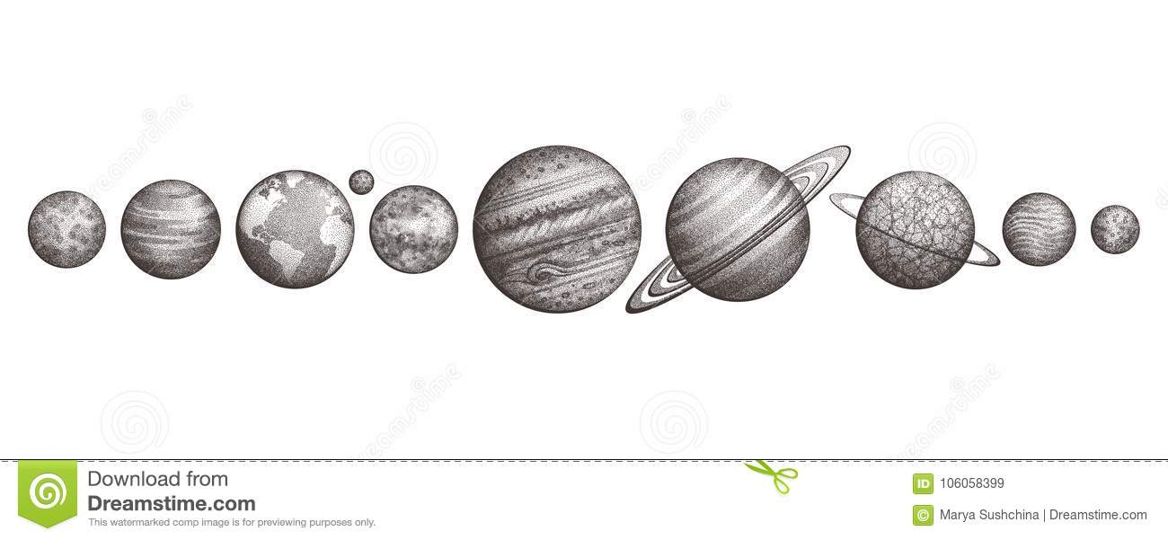 Collection Of Planets In Solar System Engraving Style Vintage