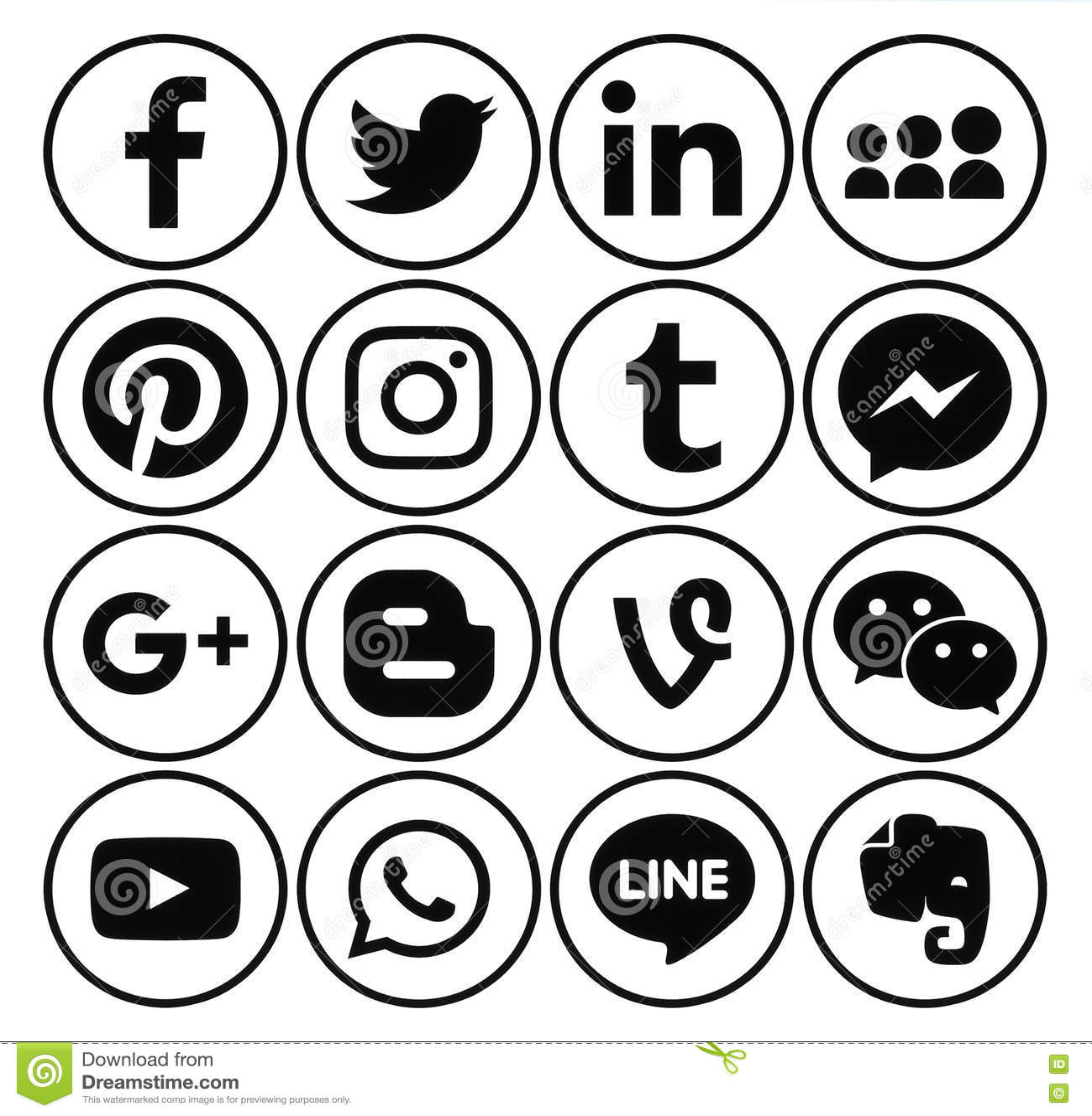 Line Art Emojis : Round white social media buttons pixshark