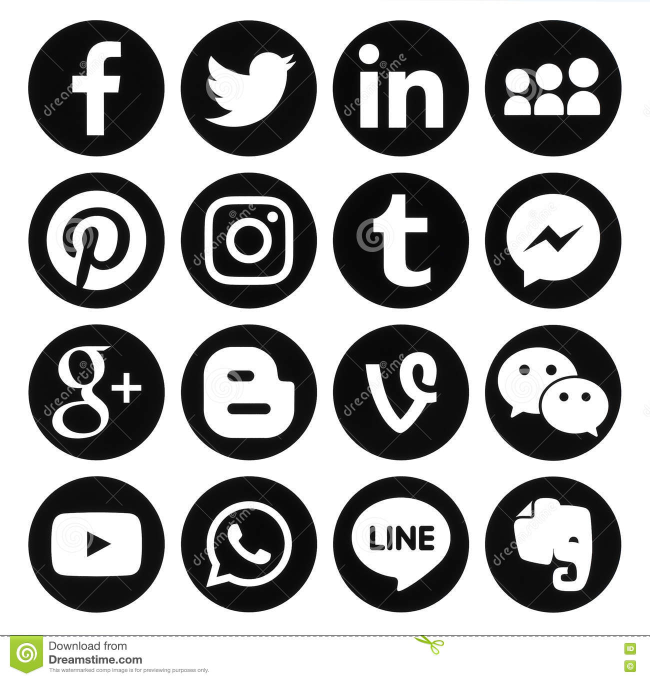 social media icons black and white. editorial stock photo. download collection of popular black round social media icons and white a