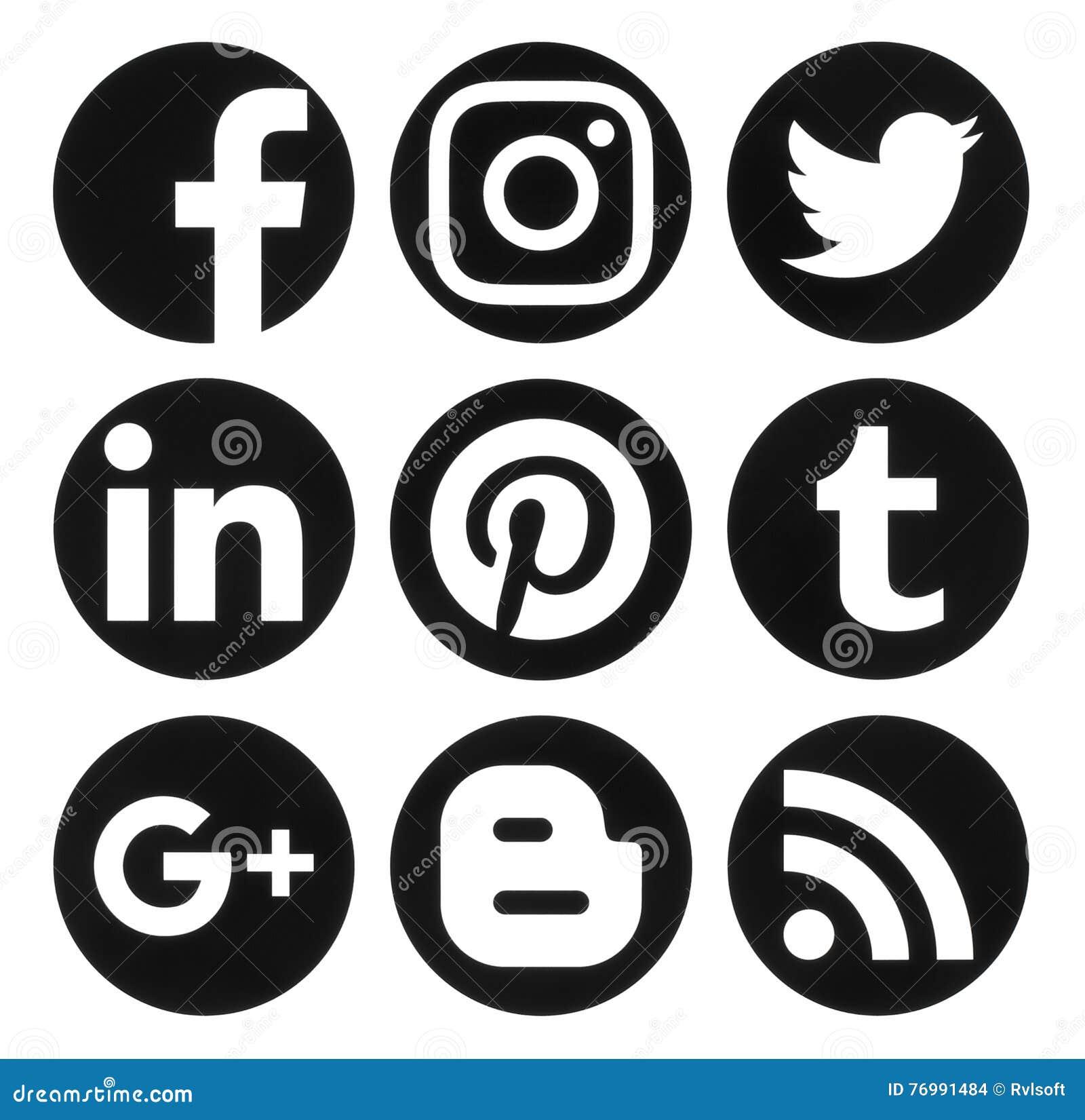 social media logos. editorial stock photo. download collection of popular circle black social media logos
