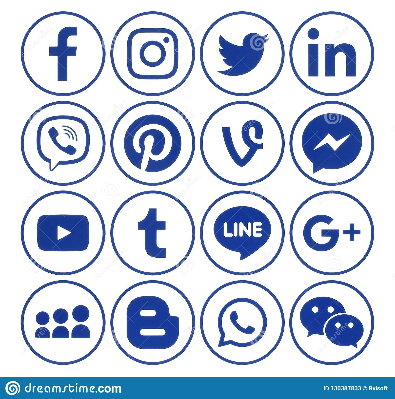 Collection Of Popular Circle Blue Social Media Icons