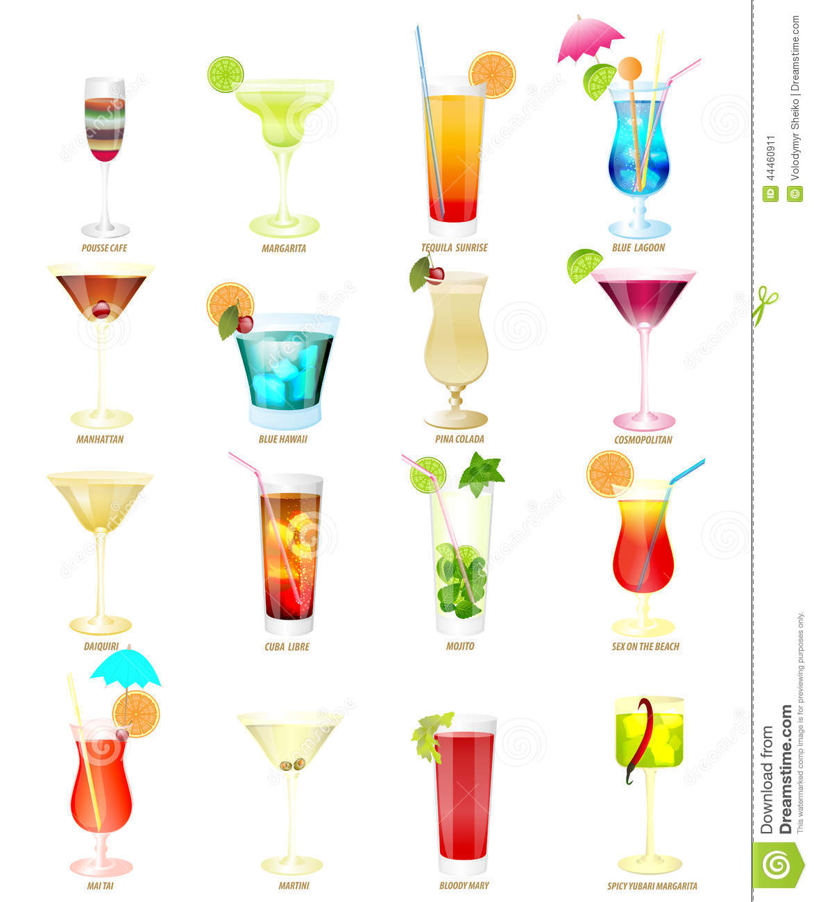 Collection of popular cocktails on a white background for Great alcoholic mixed drinks