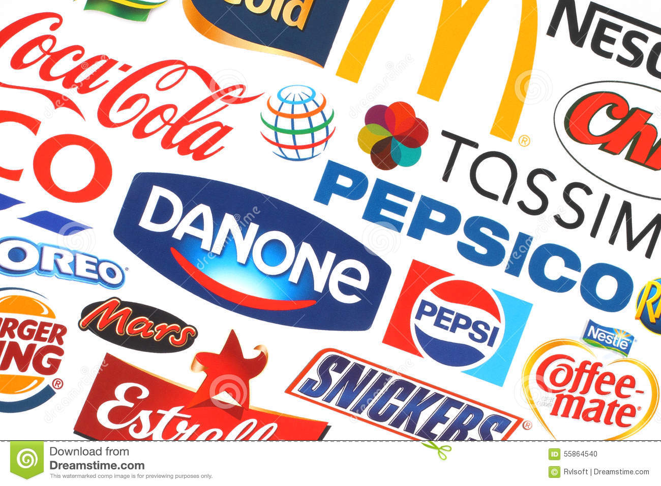 collection of popular food logos companies editorial image