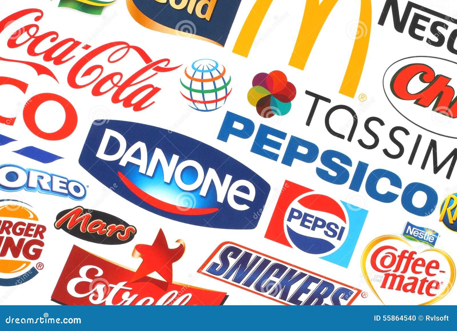 Collection of popular food logos companies