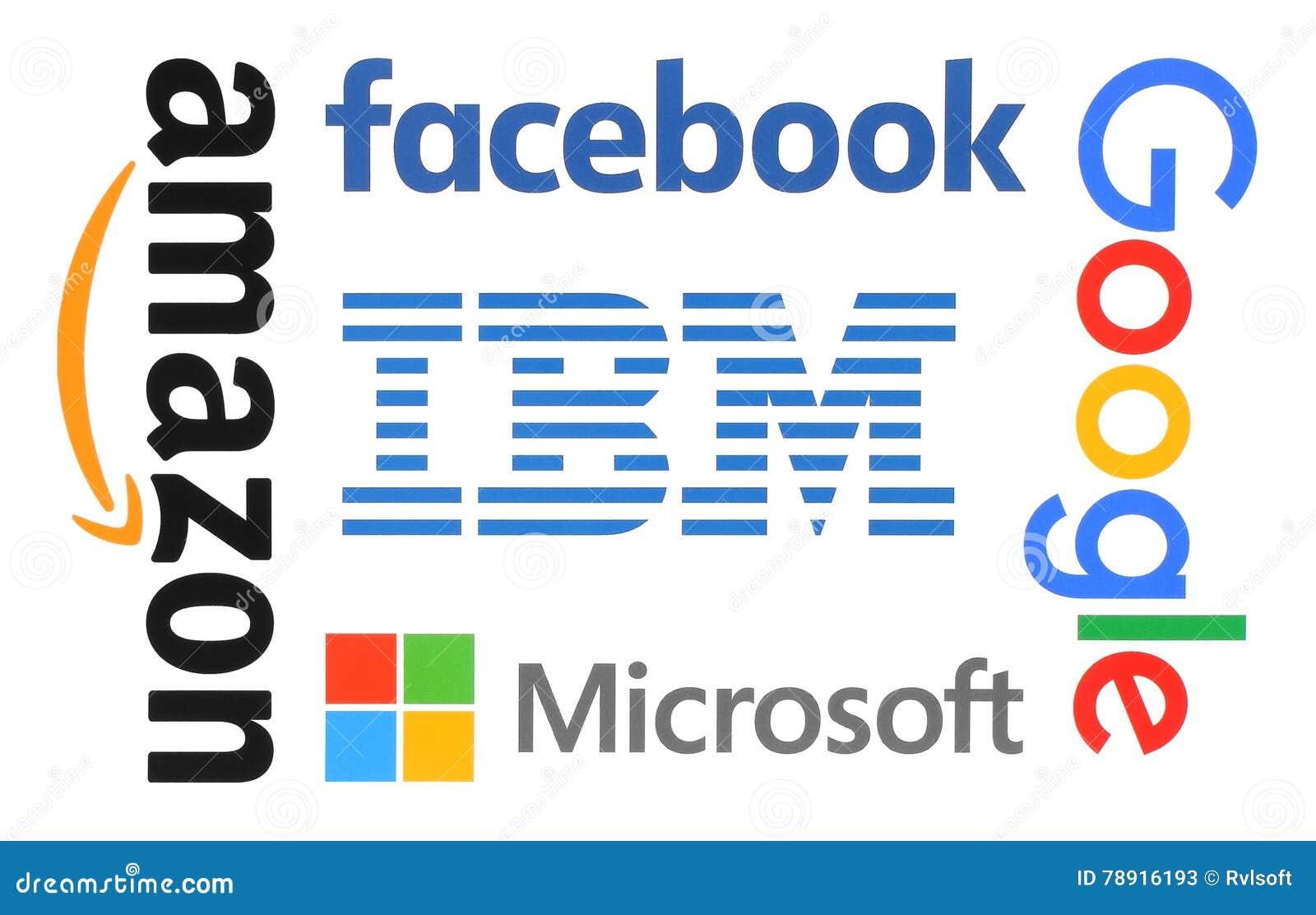 collection of popular internet companies logo editorial stock photo