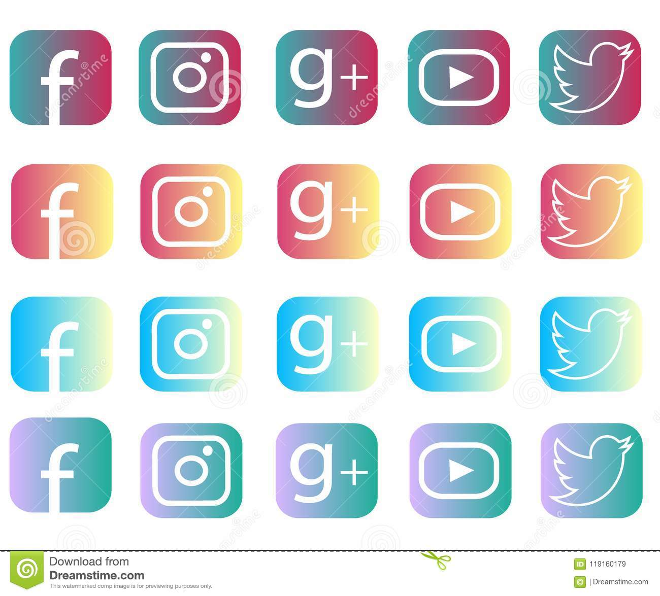 Collection Of Popular Round Social Media Logos Printed On Paper
