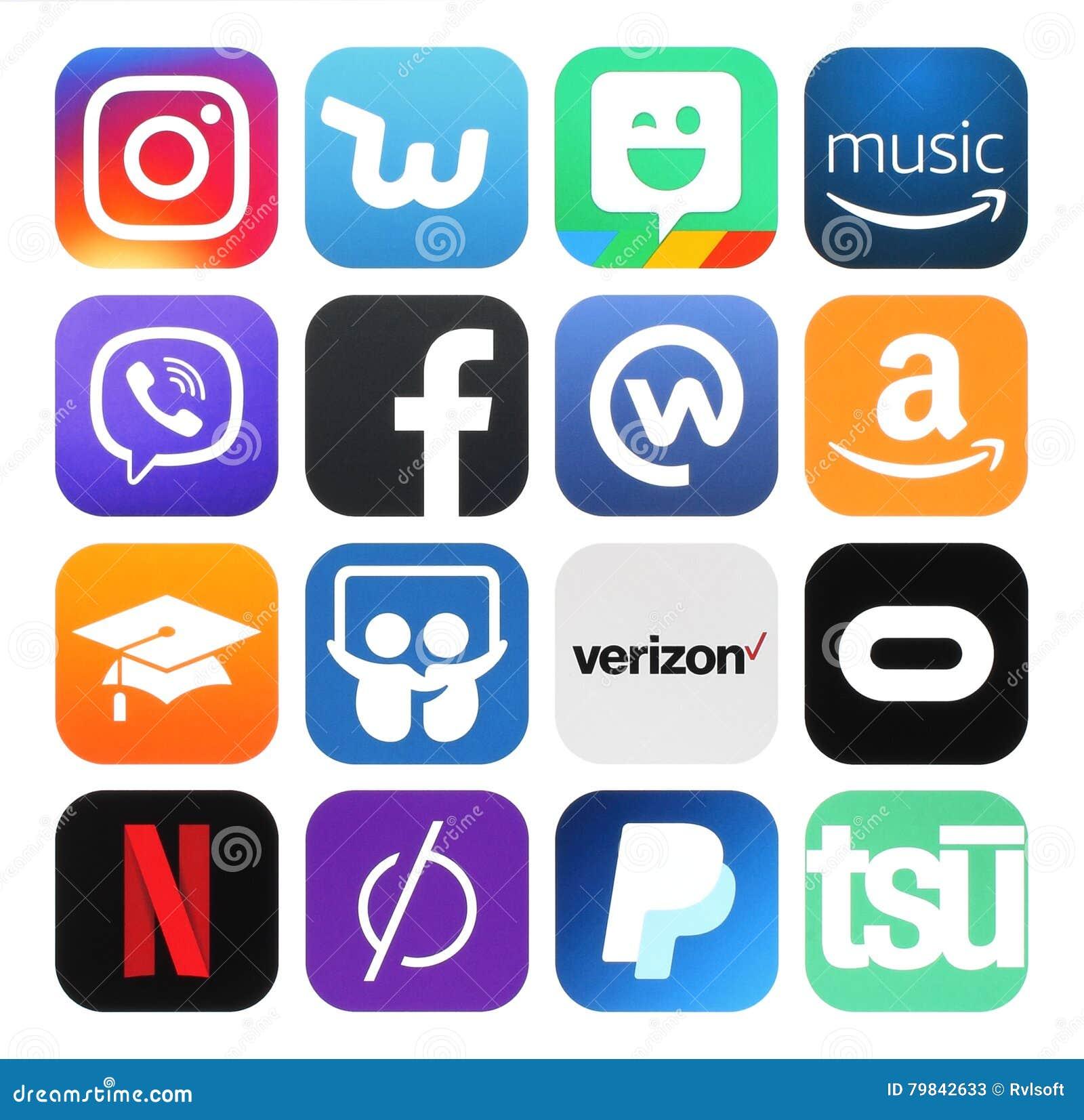 Collection of popular social media, business, photo logos