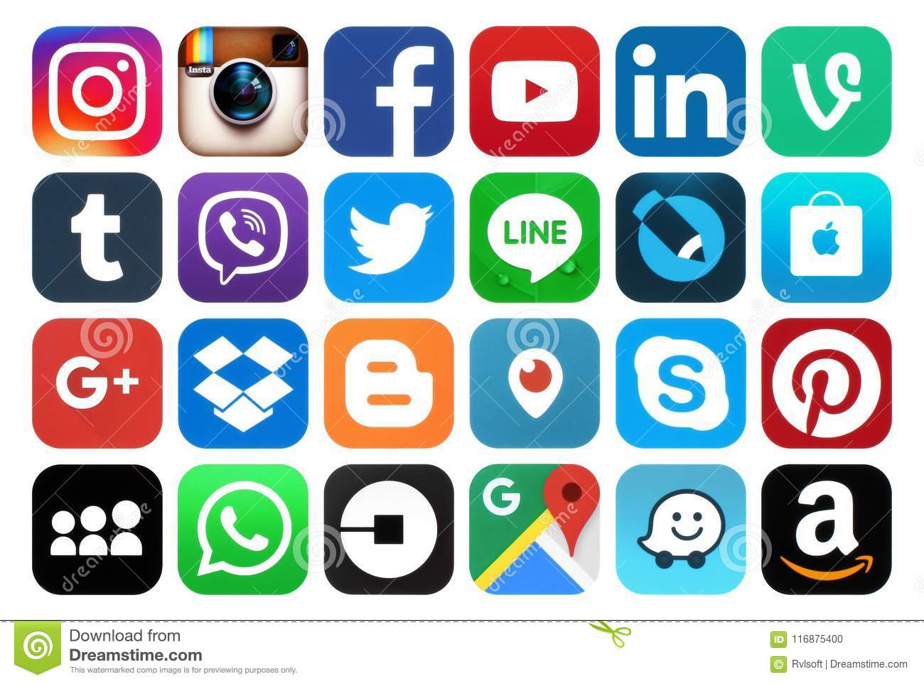 Collection of popular social media icons