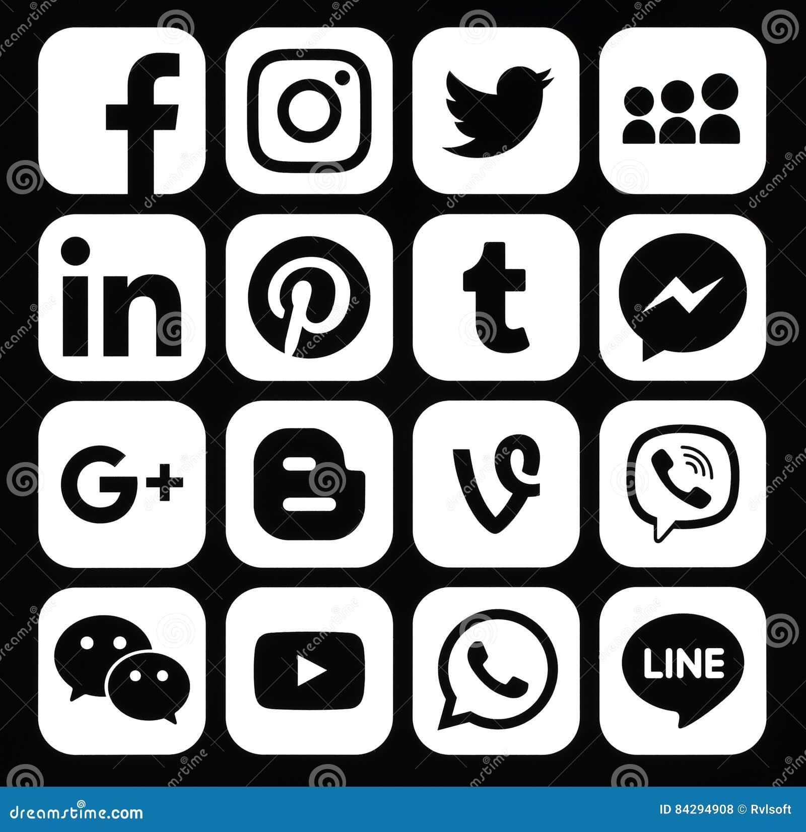 Kiev ukraine december 05 2016 collection of popular white social media icons printed on black paper facebook twitter google plus instagram