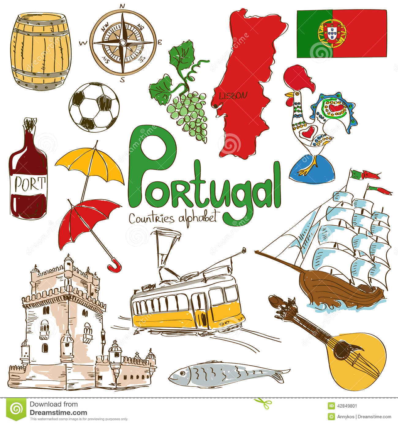 Collection Of Portugal Icons Stock Vector Image 42849801