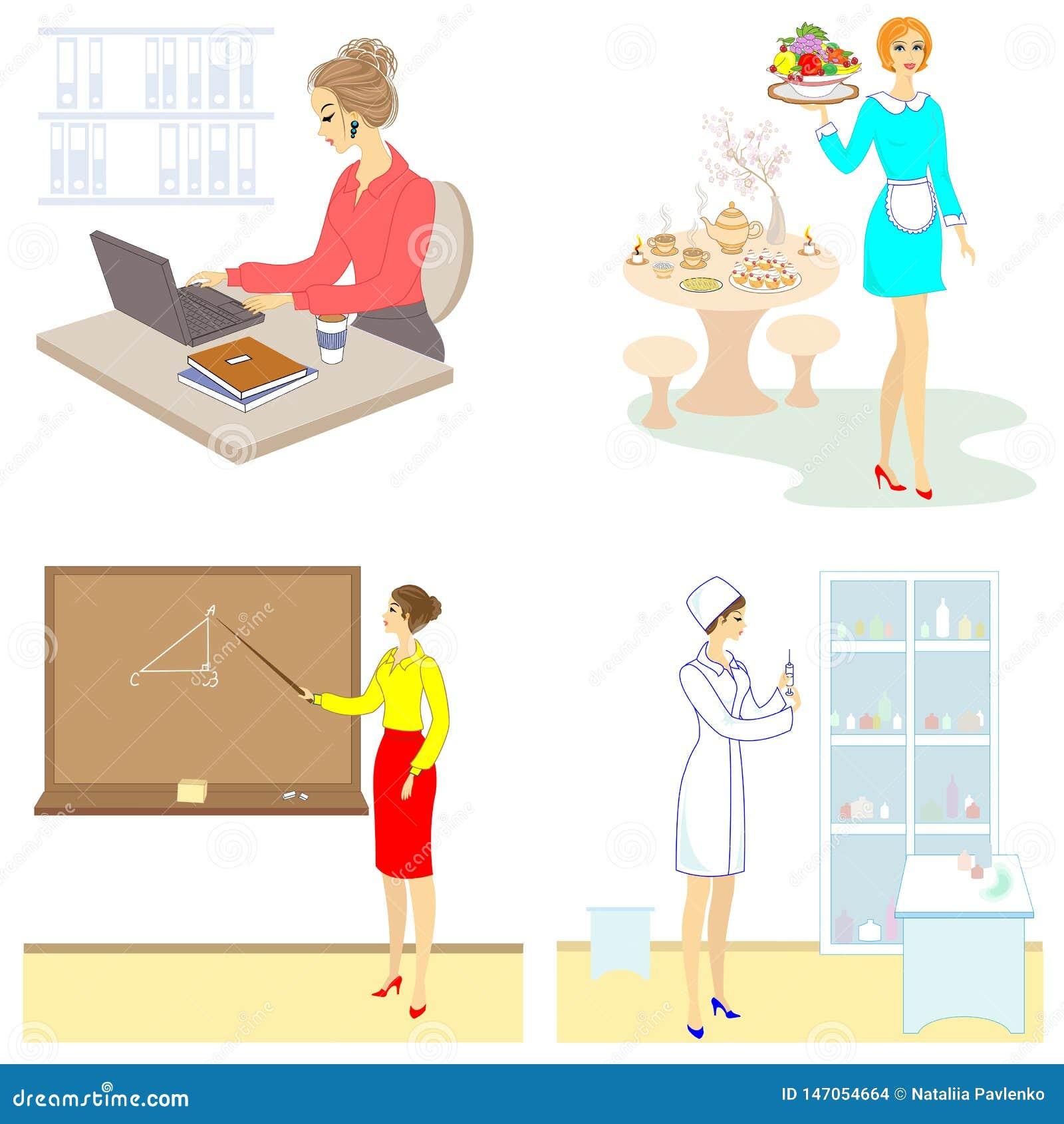 Collection. Professions for a lady. Woman teacher, nurse, secretary, waitress. Vector illustration set