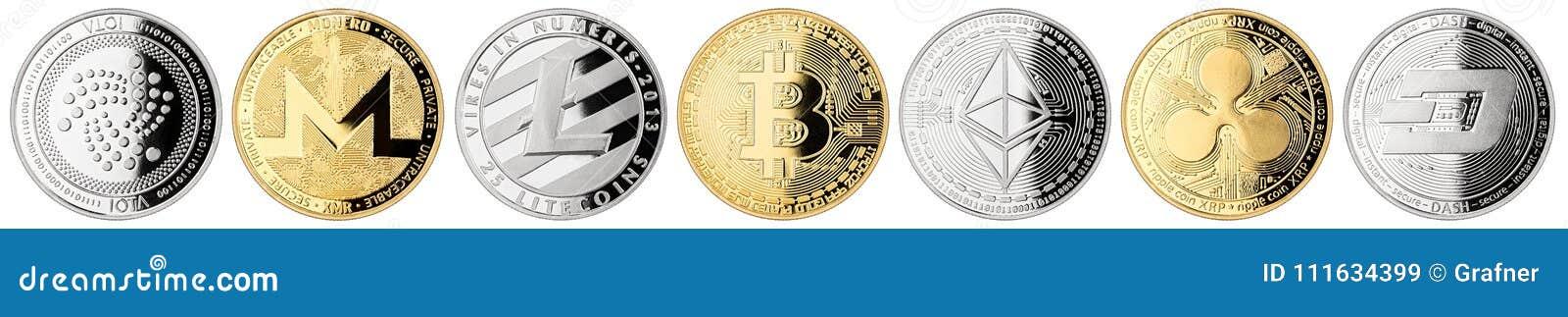 Collection réglée de crypto pièce de monnaie de devise