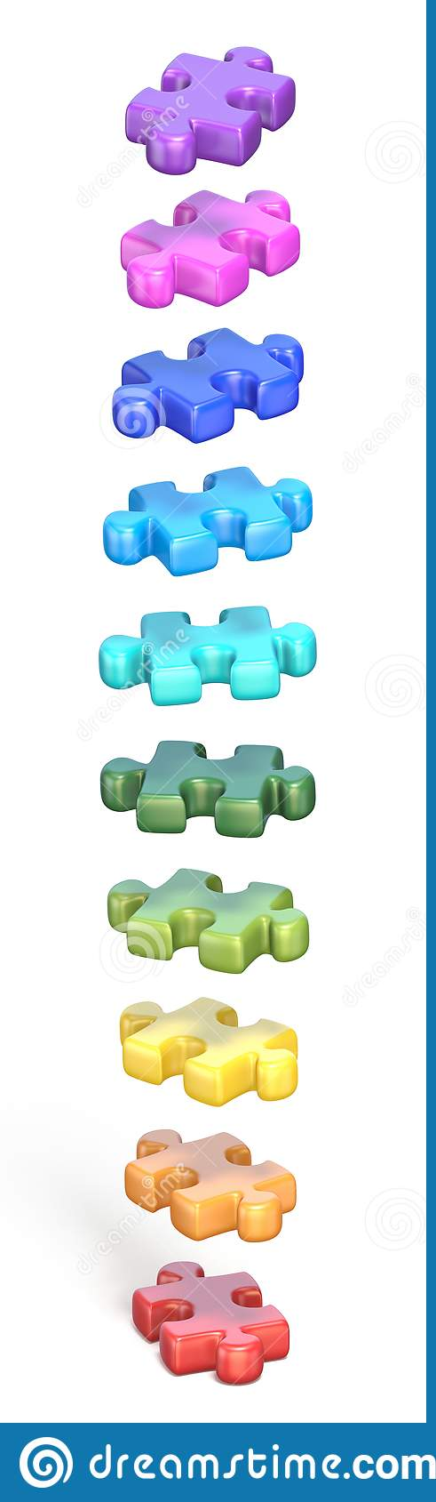 Collection of rainbow colored puzzle jigsaw pieces 3D