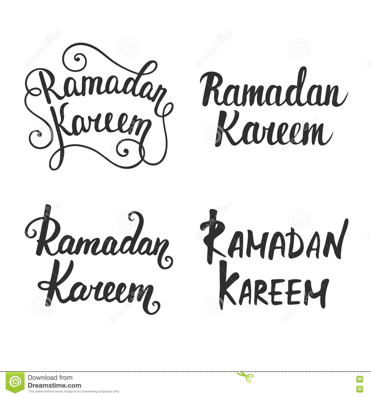 Collection Of Ramadan Kareem Modern Calligraphy Stock Vector