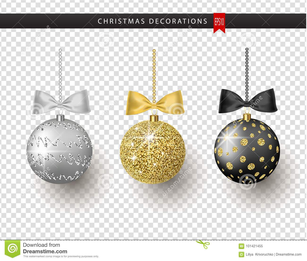 Collection of realistic beautiful shiny Christmas balls with bow on transparent background. New Year decoration