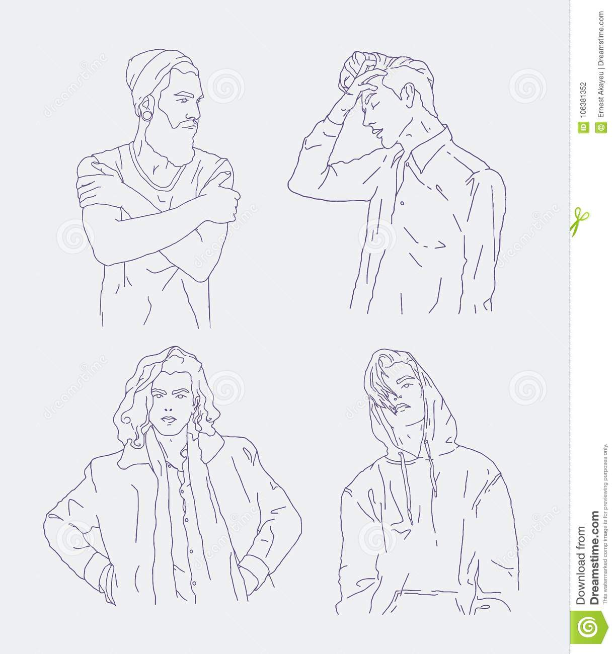 collection of realistic drawings of young men dressed in trendy