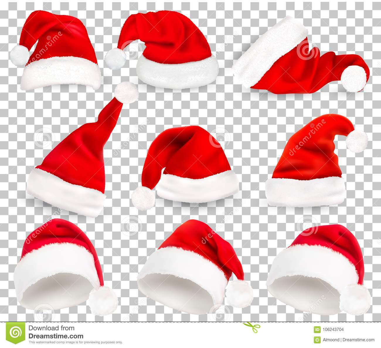Christmas Hat Transparent.Collection Of Red Santa Hats On Transparent Background